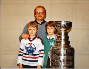 There were the occasional job perks. My Dad got us in to see the Stanley Cup, right before he went to work the day the Oilers first won it in 1984.